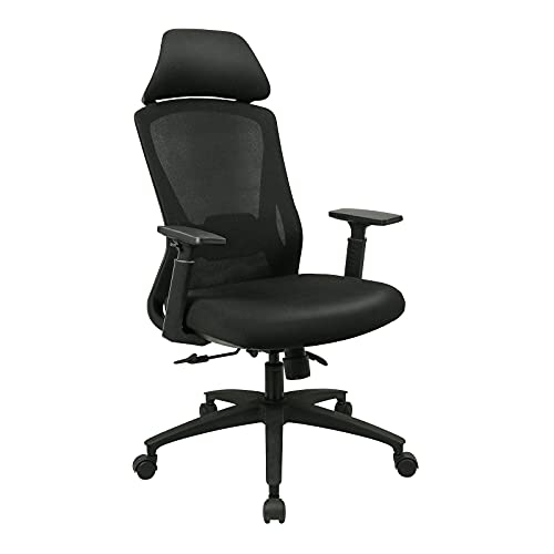 Office Desk Chair,Ergonomic Office Chairs for Home with Mesh Breathable High Back Padded Seat Wide Headrest Adjustable Armrest Lumbar Support Swivel Black Computer Chairs for Home and Office