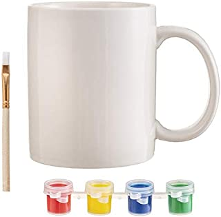 J&J's ToyScape Ceramic Mug Paint Kit - Paint-Your-Own Personalized Mugs Includes One Mug, Colorful Paint Pots & Brush   Kid's Craft & Decorations, Gifting Ideas