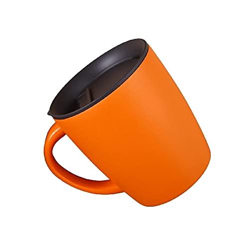 Mug Taza de Acero Inoxidable Taza de Té Taza Aislada de Acero Inoxidable 304 con Asa y Tapa para Café, Té, Cerveza, Bebida,Orange