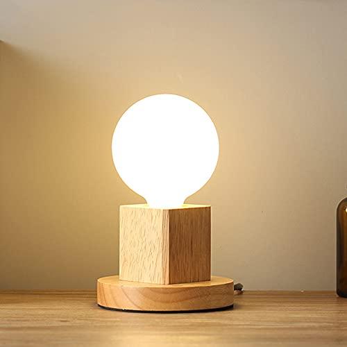 Chao Zan Lámpara de mesa Cubo, 1 lámpara de mesa industrial vintage, moderna, lámpara de noche de madera, lámpara de salón, lámpara con interruptor, E27 Dormitorio Sala de Estar comedor estudio