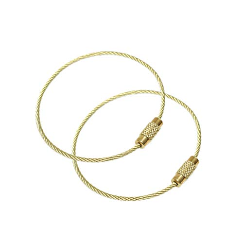 YES Time 1.5x150mm Stainless Steel Wire Cable Rope Key Ring Keychain for Keys Luggage Tags (Gold, 10 Pieces)