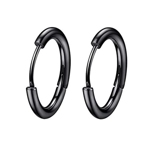1 par de pendientes de aros pequeños de acero inoxidable para mujer / hombre, Piercing para cartílago de oreja, trago, círculo fino, hebilla de oreja antialérgica, negro, 14 mm