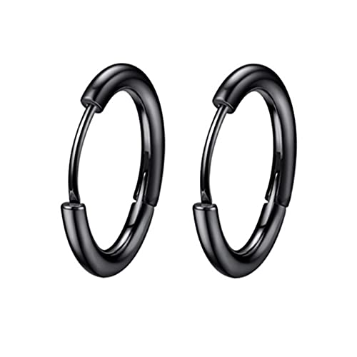 1 par de pendientes de aros pequeños de acero inoxidable para mujer / hombre, piercing para cartílago de la oreja, trago, círculo fino, hebilla de oreja antialérgica, negro, 10 mm