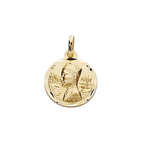Medalla Oro 18K Escapulario 16mm. Virgen De Montserrat San Jorge Cerco Tallado Bisel