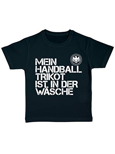 clothinx Kinder T-Shirt Bio EM 2020 Mein Handball Trikot ist in der Wäsche Schwarz/Weiß Größe 140