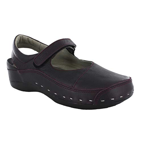 Wolky New Women's Strap Cloggy Bordo Palm Metal Suede 39