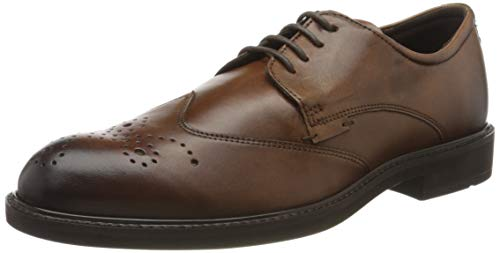 ECCO Men's Ankle Boot Brogues, Brown Amber 1112, 8 US