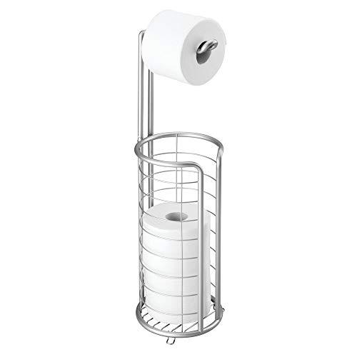 mDesign freistehender Klopapierhalter für das Bad oder Gäste-WC – Toilettenpapierhalter stehend aus Metall – Papierrollenhalter mit Aufbewahrung für 3 Ersatzrollen – silberfarben