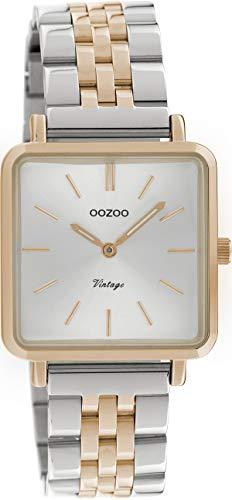 Oozoo Vintage Damenuhr mit Edelstahl Glieder Armband Quadratisch Flach 28 MM C9954