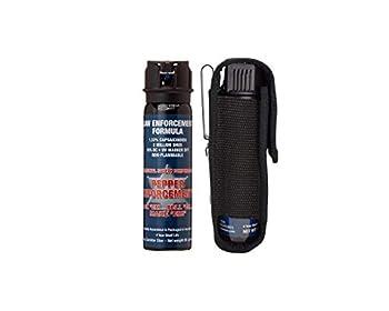 Pepper Enforcement PE1110M-FT Splatter Stream Pepper Spray + Metal Belt Clip Holster for Self Defense - Maximum Strength 10% OC Police Grade Formula - Emergency Non Lethal Personal Safety & Protection