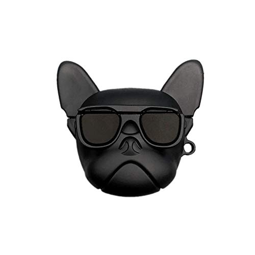 Ultra Thick Soft Silicone Black French Bull Dog Case with Hook for Apple Airpods 1 2 Air Pods Wireless Earbuds Protective 3D Cartoon Puppy Sunglasses Cool Fun Luxury Designer High Fashion Girls