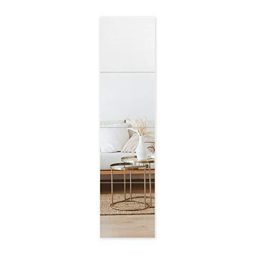 Muzilife Full Length Mirror Tiles - 12 Inch x 4Pcs Frameless Wall Mirror Set Square Tiles for Bedroom, Living Room