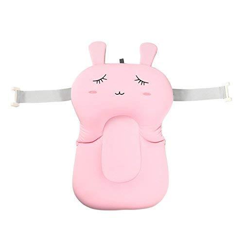 Moonvvin Baby-Badekissen, weiches Badewannenkissen und -Liege für Neugeborene Pink Rabbit With Hook