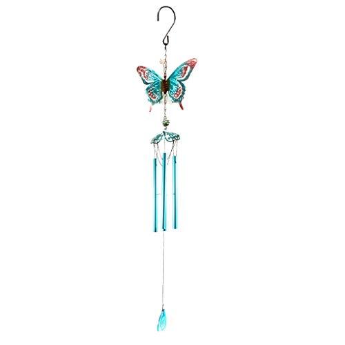 B Blesiya Tube Carillon Vent Windchime Papillon Jardin Décor Ornement - Bleu