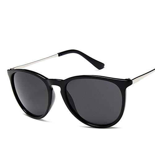 Mrjg Gafas de Sol de la Vendimia del Gato de los Ojos de Mujer de Marca de diseño Erika Modelos Feminino Rayos protección por duplicación de los vidrios de Sun (Lenses Color : Bright Black)