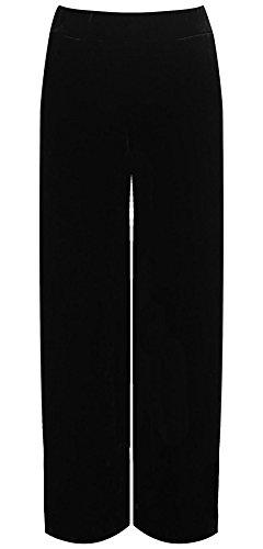 Islander Fashions para Mujer de Pierna Ancha Velour Velvet Palazzo Ladies Leg Bolsillos Fancy Party Trouser ES 38-52