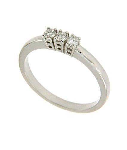 Anello Trilogy in oro bianco 750 18 kt con diamanti - Orolab N72