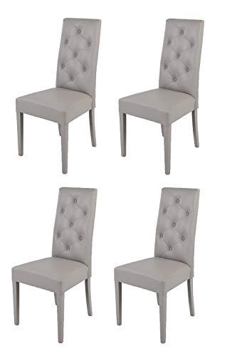 Tommychairs - Set 4 sillas Chantal para cocina, comedor, bar y restaurante, solida estructura en madera de haya y asiento tapizado en polipiel gris claro