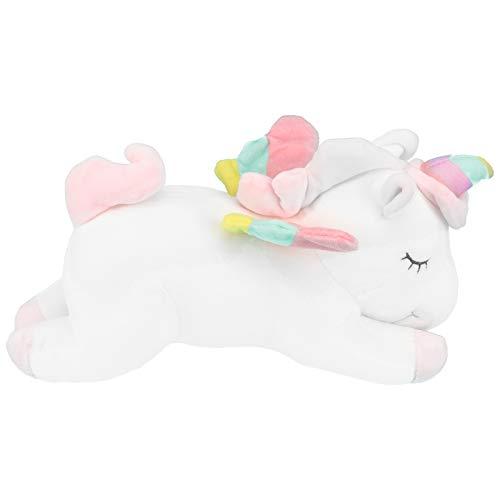 VOSAREA 1pc Peluche Cuscino Bambola Forma di Unicorno Design Arcobaleno Colore Carino Adorabile per Bambini Ragazze Bianco