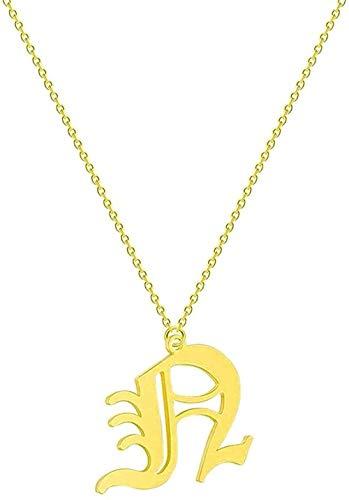 Yiffshunl Collar Simple 26 Letras Inicial Mujer S Collar Nombre Acero Inoxidable Novia Cadena étnica Collares y Colgantes Collar Regalo para Mujeres Hombres Niñas Niños