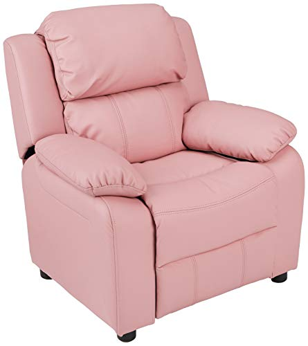 AmazonBasics LeatherSoft Kids/Youth Recliner with Armrest Storage, 5+ Age Group, Light Pink