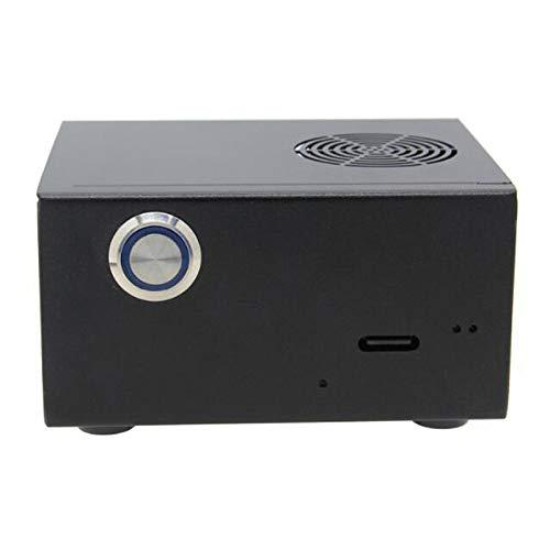 Haude X857 Carcasa de metal + ventilador de refrigeración + interruptor de control de alimentación para Raspberry Pi 4B para X857/X872/X862