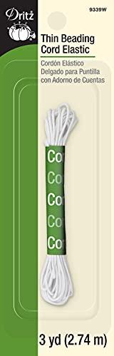 Dritz 9339W Thin Beading Cord Elastic, White, 3-Yard