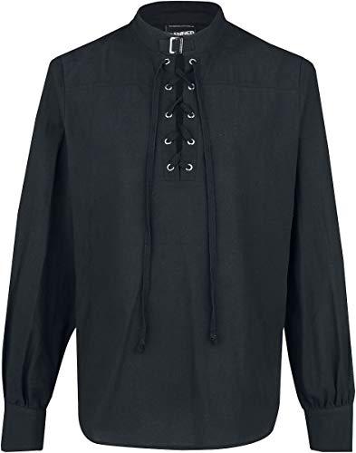 Banned Alternative Schnürhemd mit Schnalle Männer Hemd schwarz 4XL