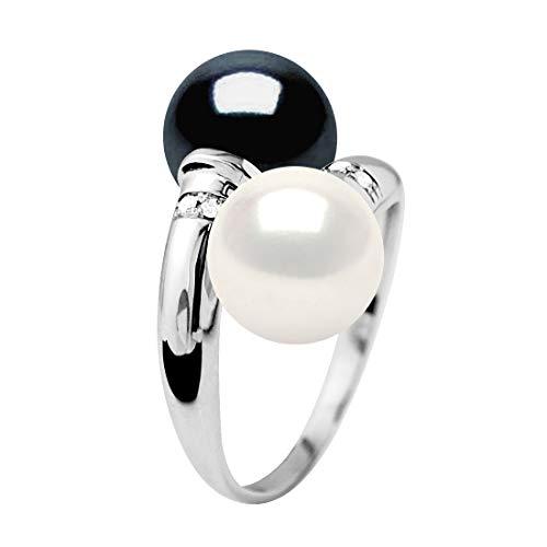 Pearls & Colors - Anello Perle Coltivate d'Acqua Dolce Rotonde 8-9 mm - Bianco Naturale e Blu Tahiti - Oro Bianco - qualità AAA+ - Diamante 0.040 CTS - Gioielli Donna