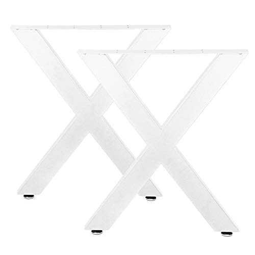 2 x Tischbeine Metall Stahl Tischgestell Tisch Beine Tischkufen Kufen Design X Form Für Möbel Möbelfüße Möbelkufen Esstisch Schreibtisch Gartentisch Weiß V2Aox