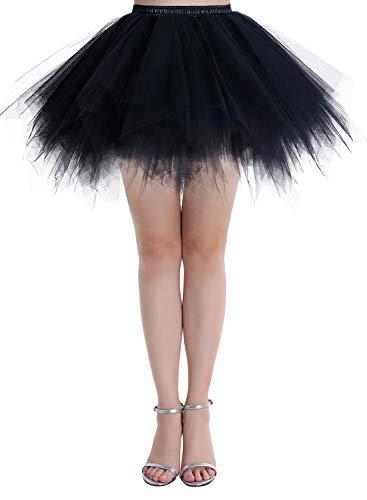 Dressystar Petticoats Minirock Kurz Unterrock Tutu Unregelmäßig Tüll Damen Mädchen Ballettrock Multi-Schichten Schwarz L