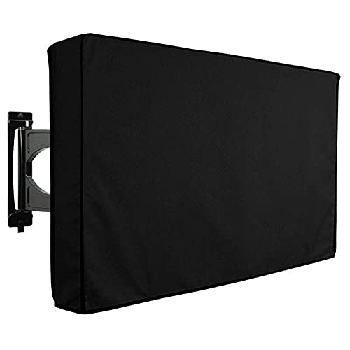 Cubierta de TV negra para exteriores, resistente 600D Oxford tela exterior cubierta de TV universal resistente a la intemperie para monitor de pantalla plana exterior de 40-42 pulgadas