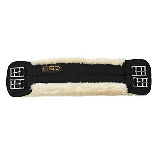 C.S.O. Kurzgurt Neoprengurt mit synthetischem Lammfell, Sicherheits-Rollschnallen aus Edelstahl (60, schwarz-beige)