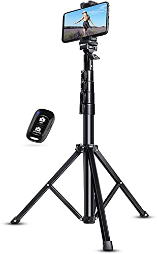 """UBeesize 51"""" Extendable Tripod Stand with Bluetooth Remote for iPhone Android Phone, Heavy Duty Aluminum, Lightweight"""