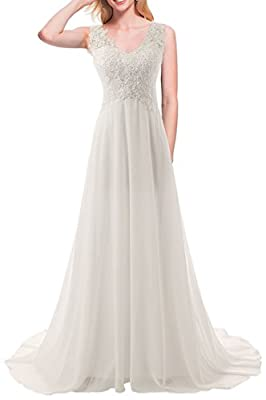 JAEDEN Wedding Dress Beach Bridal Dresses Lace Wedding Gown A Line Bride Dress Ivory US2