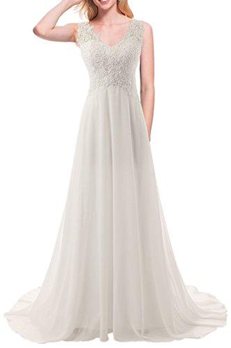 JAEDEN Wedding Dress Beach Bridal Dresses Lace Wedding Gown A Line Bride Dress Ivory US28W