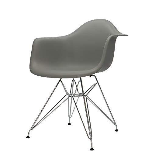 Popfurniture Designer Stuhl mit Armlehne & Edelstahl Beinen | viele Farben, robust, leichter Aufbau | Esszimmerstühle, Stühle Esszimmer, Esstisch Chair, Küchenstühle, Essstühle, Esszimmerstuhl
