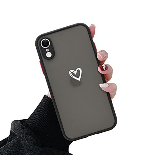 Newseego Coque Compatible avec l'iPhone XR, Coque Givrée Mince et Mignonne avec Motif Mignon Coeur d'amour iPhone XR Coque de Protection Antichoc Légère pour Femmes et Filles-Noir