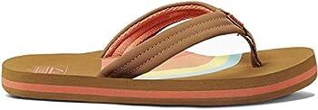 Reef Girls Ahi Summer Slip On Beach Flip Flops Sandals Rainbow 4/5 US