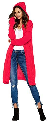 Lemoniade hochwertiger, modischer Cardigan mit Kapuze Knielang - Strickjacke Damen Jacke lang Mantel Strickmantel (LS213 900552 Himbeere)