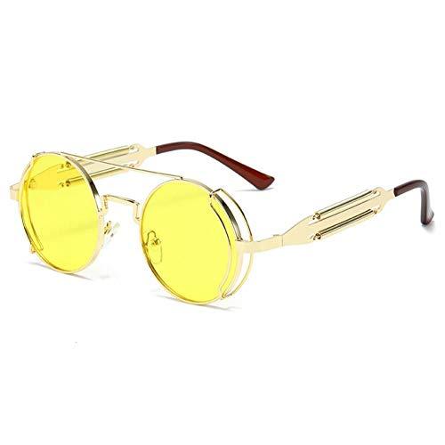 ZZOW Gafas De Sol Steampunk Redondas De Moda para Hombre, Gafas De Sol De Doble Primavera De Metal Retro, Gafas De Sol Únicas para Mujer, Gafas De Sol Uv400
