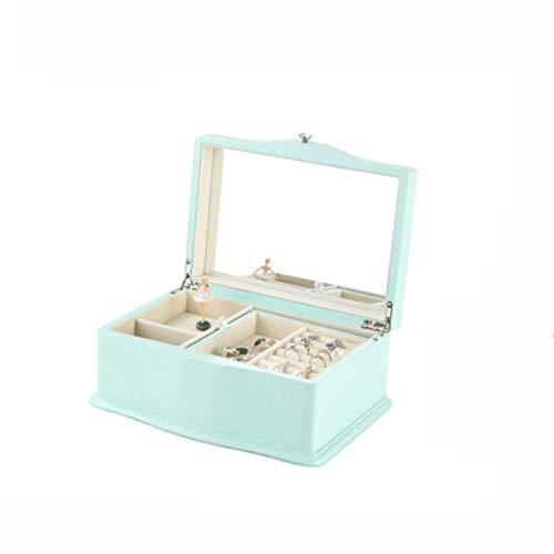 Figuras Cajas de música Verde de la manera caja de música Música joyería de madera caja de caja de música portable de la joyería caja de música de gran capacidad de almacenamiento caja de acabado Caja