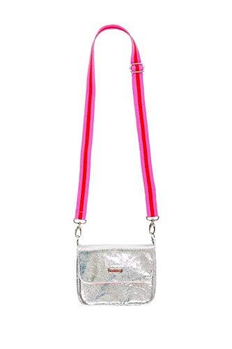 brasi&brasi Fflap&summerstripe - Bolsa mediana, color plateado