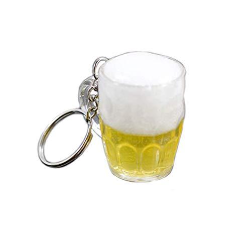 Vektenxi - Portachiavi in Resina a Forma di Bicchiere di Birra per Auto, Borsa, Portachiavi, Ciondolo, Accessorio per Gioielli Durevole e utile