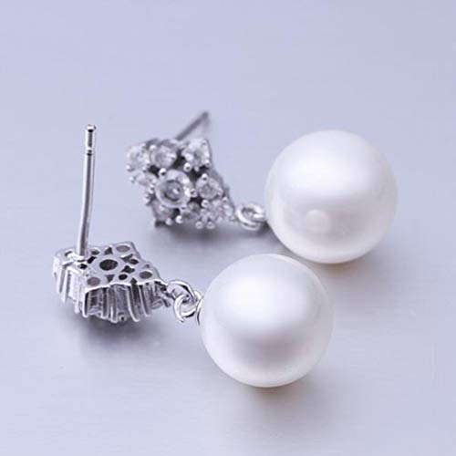 Women Platinum Pearl Earrings Diamond Stud Earrings/Anti-allergic/Pearl Earrings/Small and Exquisite,Colour:Picture color Bracelets Earrings Rings Necklaces (Color : Picture color)