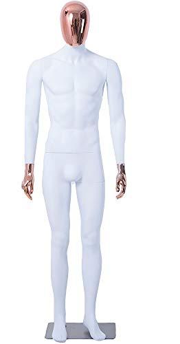 Eurohandisplay Mann, DM1-6D schöne abstrakte weiß Matt lackierte Schaufensterpuppe Galvanik Kopf und Hände Neu Männliche Weiblich (Mann, DM1-6D)