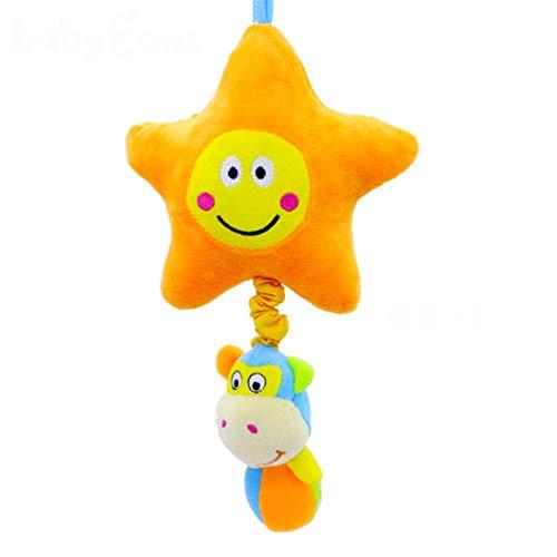 KUHRLRX Netter Mond Sonne Sterne Plüschtiere Frühe Bildung Lernspielzeug Baby Drehbank Hängendes Spielzeug Geschenke (Stern)