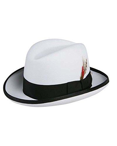 "Godfather Homburg Fedora Hat in White with Black Band (Large = 23"")"