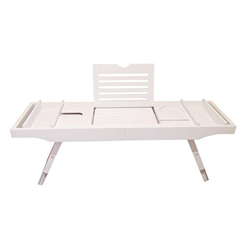 FYBDZCN Bamboo Bathtub Caddy Tray Adjustable Leg Bath Bed Tray Expandable Sides Bathtub Holder Lap Tray Home Spa With Support For Book Magazine White 75x23x4cm(30x9x2inch)