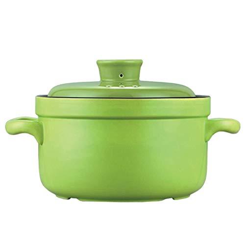 Céramique avec couvercle Casserole Cocotte soupe Hot Pot lait nouilles bouillies Multi-Function Pierre Pot Pour différentes cuisines (Color : Green)